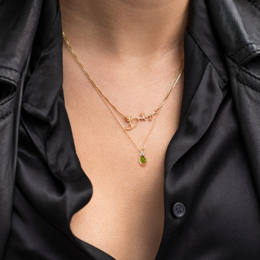 Peridot Pendant Necklace - 14K Gold - 2