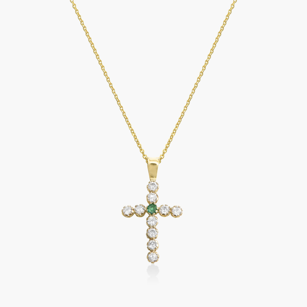 Emerald and Cubic Zirconia Cross Necklace - 14K Gold