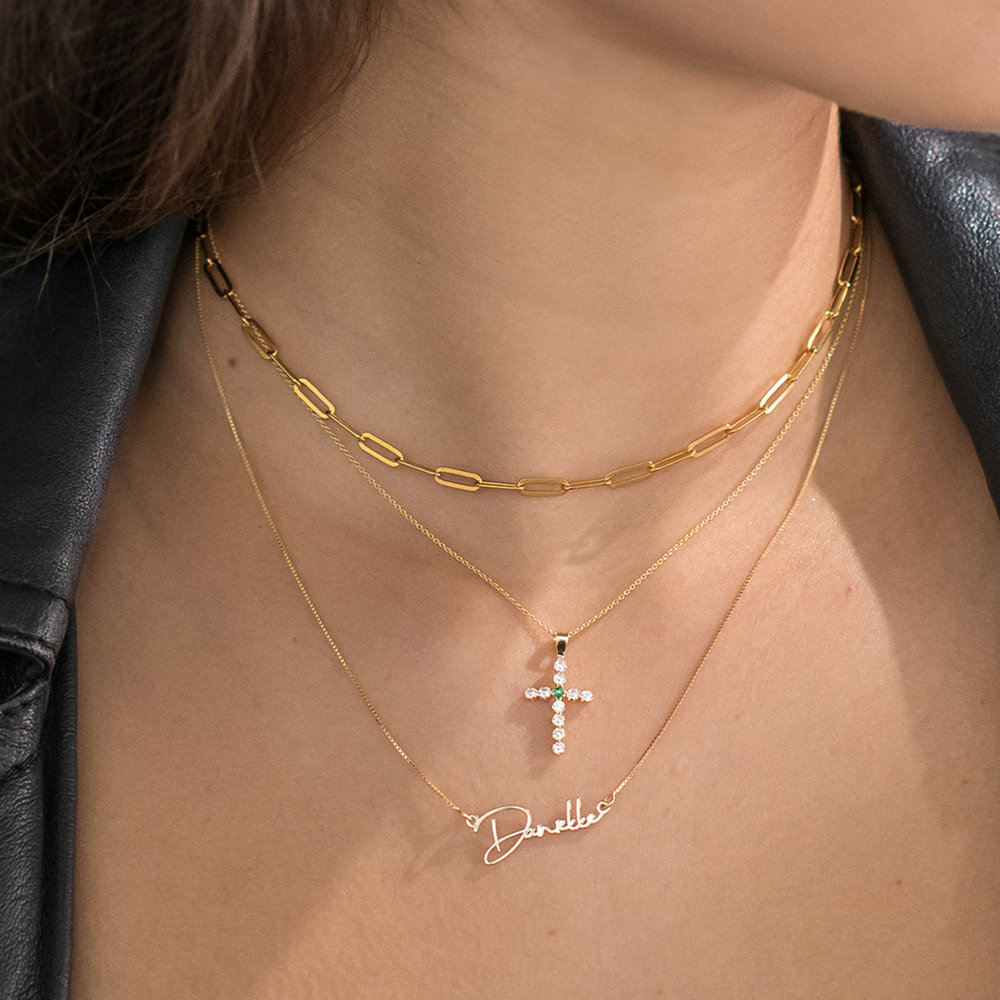 Emerald and Cubic Zirconia Cross Necklace - 14K Gold - 2