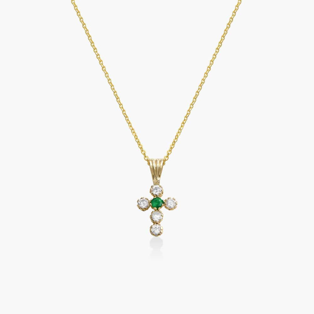 Emerald and Cubic Zirconia Small Cross Necklace - 14K Gold