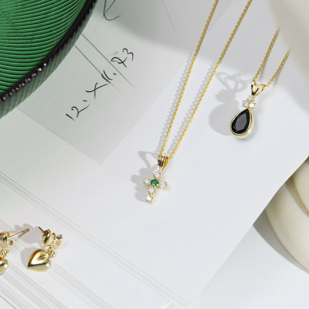 Emerald and Cubic Zirconia Small Cross Necklace - 14K Gold - 1