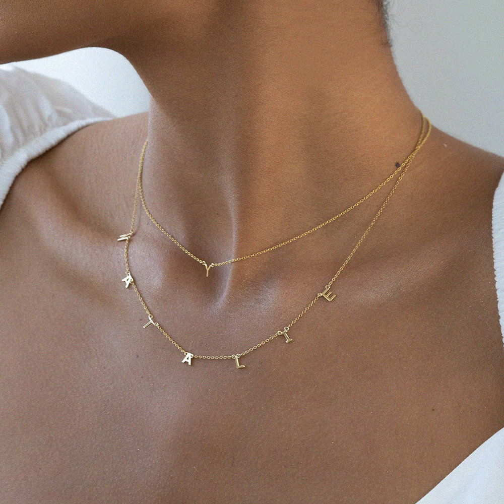 Inez Initial Necklace - Gold Plated - 3