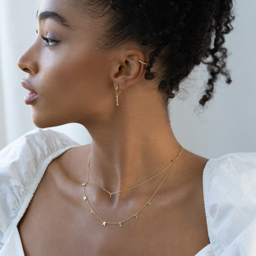 Inez Initial Necklace - Gold Plated - 4