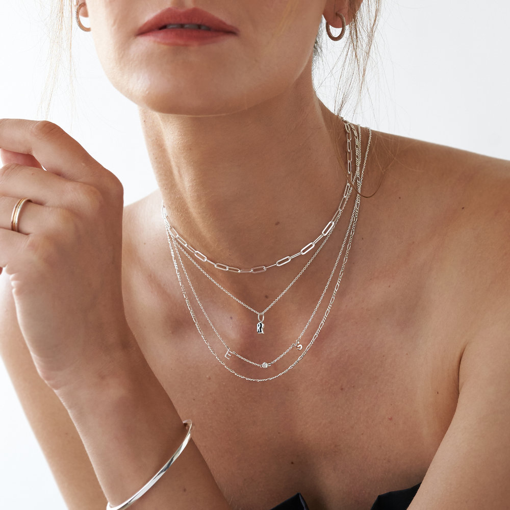 Inez Initial Necklace with Diamond - Silver - 3