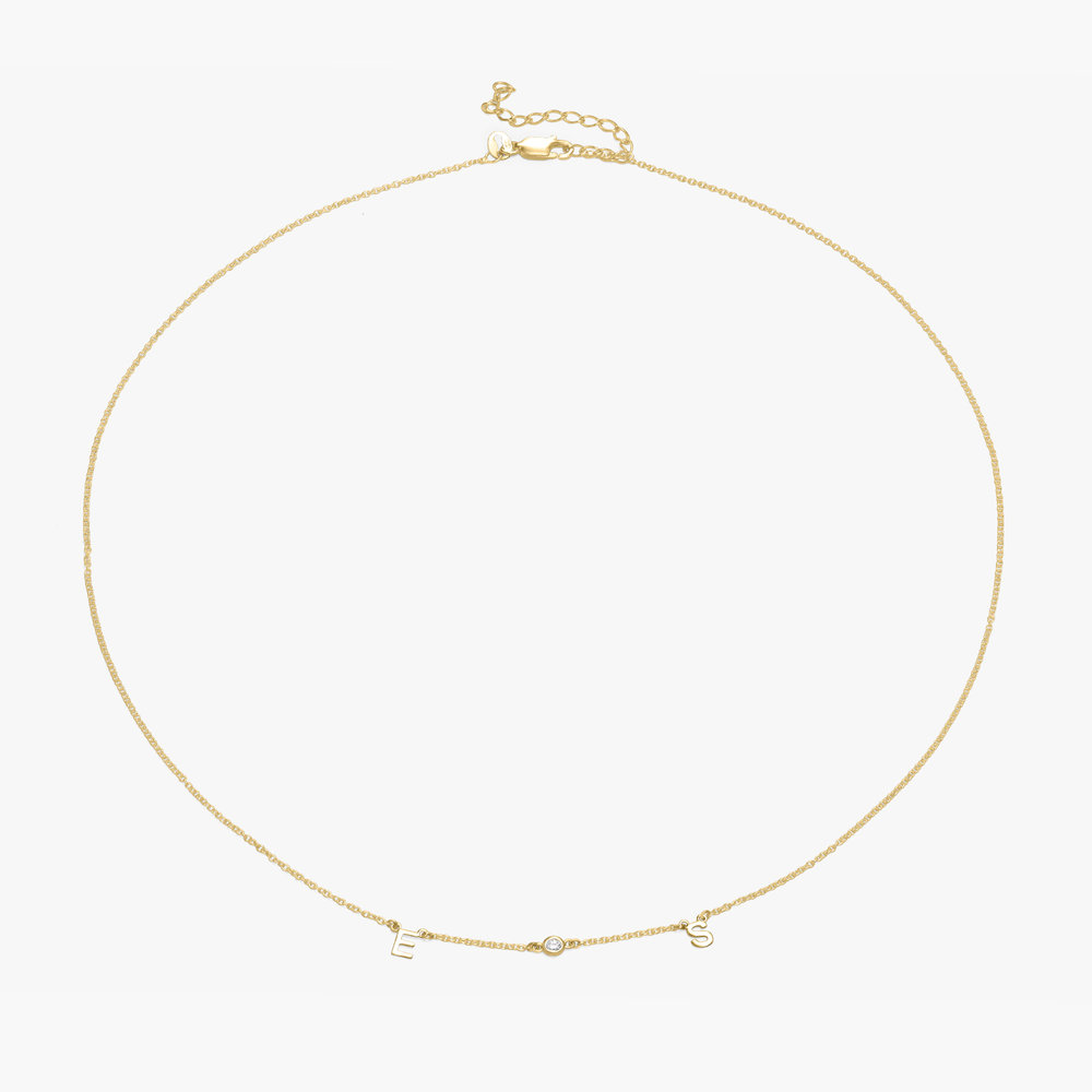 Inez Initial Necklace with Diamond - Gold Plated - 1