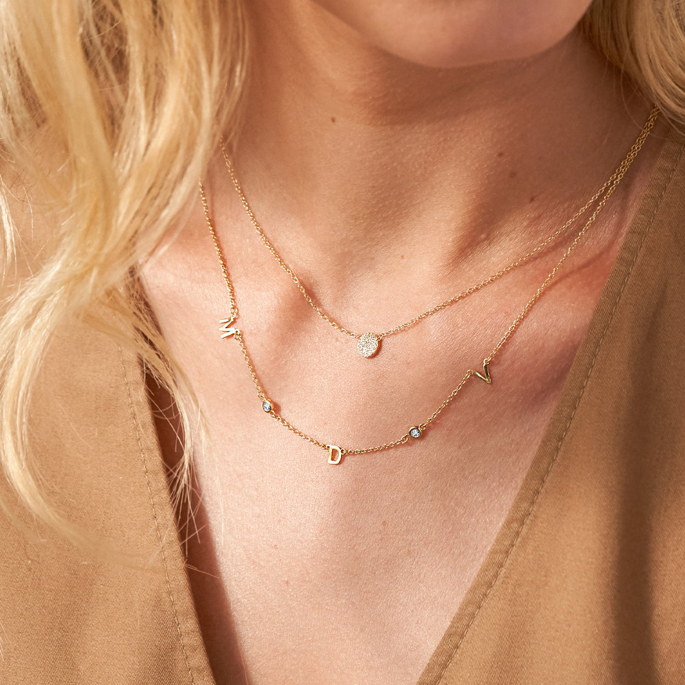 Inez Initial Necklace with Diamond - Gold Plated - 3