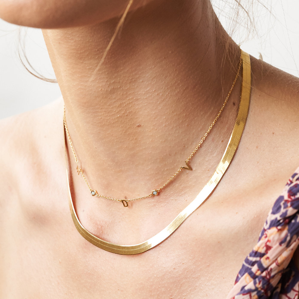Inez Initial Necklace with Diamond - Gold Plated - 4
