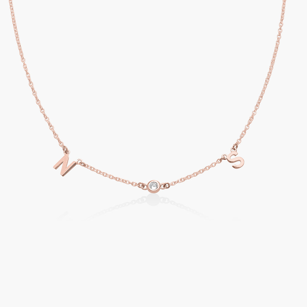 Inez Initial Necklace with Diamond - Rose Gold Plated