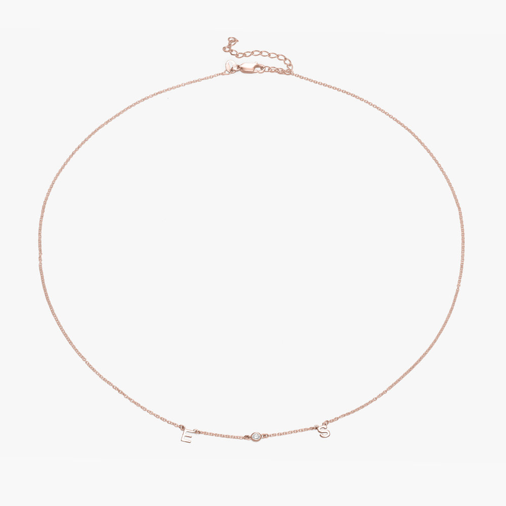 Inez Initial Necklace with Diamond - Rose Gold Plated - 1