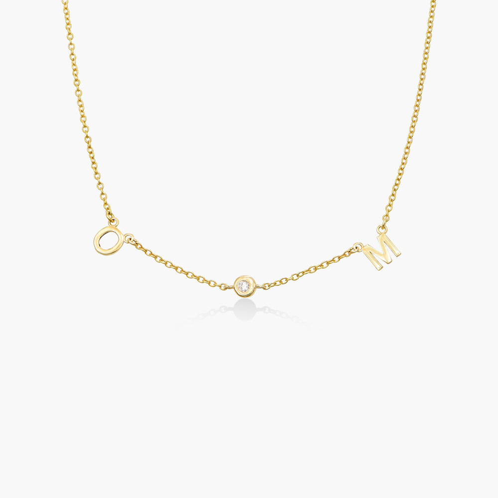 Inez Initial Necklace with Diamonds - 14K Solid Gold