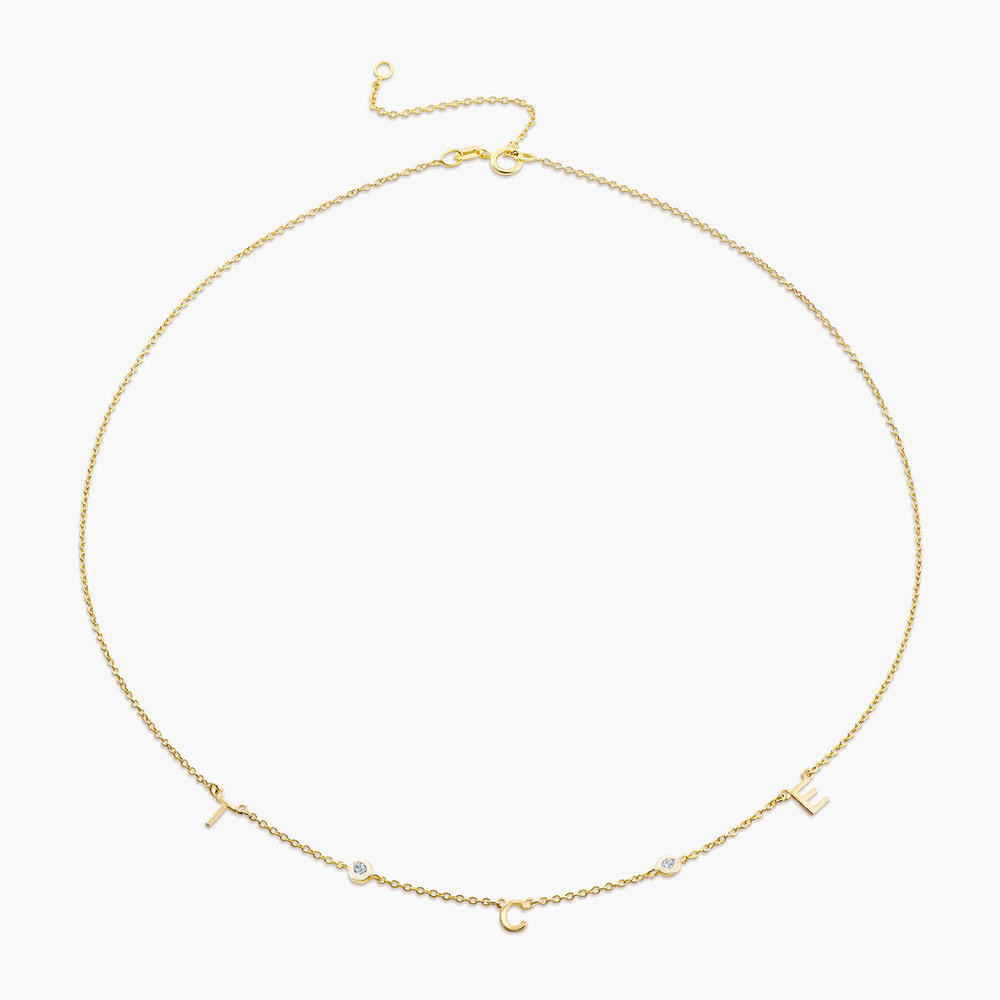 Inez Initial Necklace with Diamonds - 14k Gold - 1
