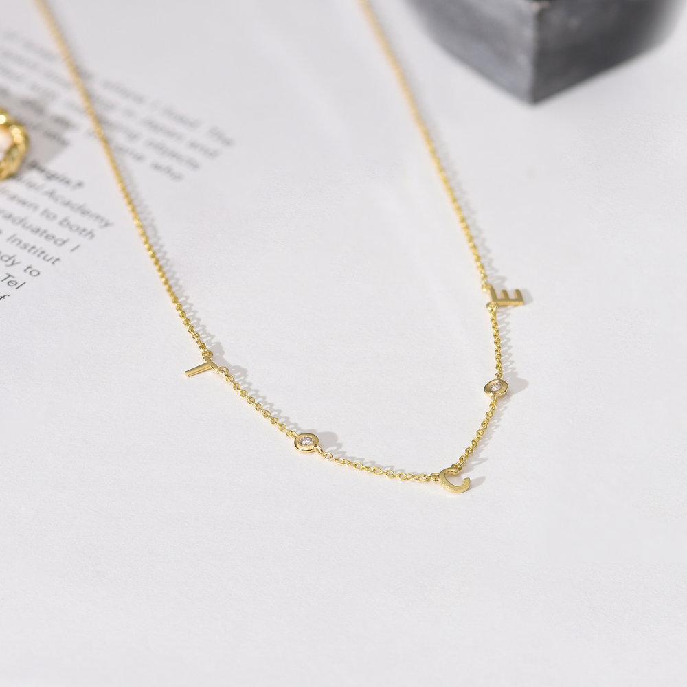 Inez Initial Necklace with Diamonds - 14k Gold - 2