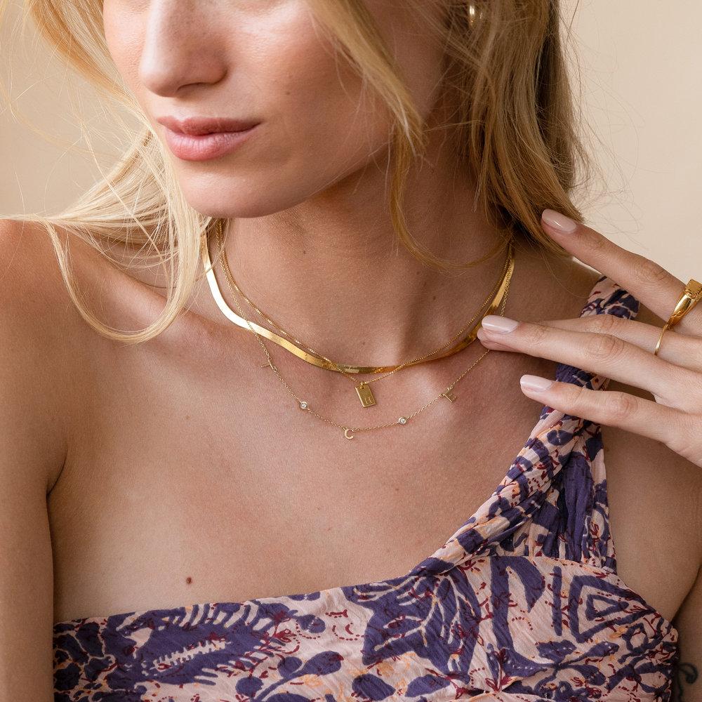 Inez Initial Necklace with Diamonds - 14k Gold - 5