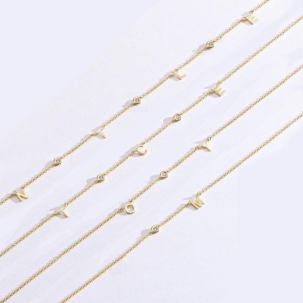 Inez Initial Necklace with Diamonds - 14k Gold - 7