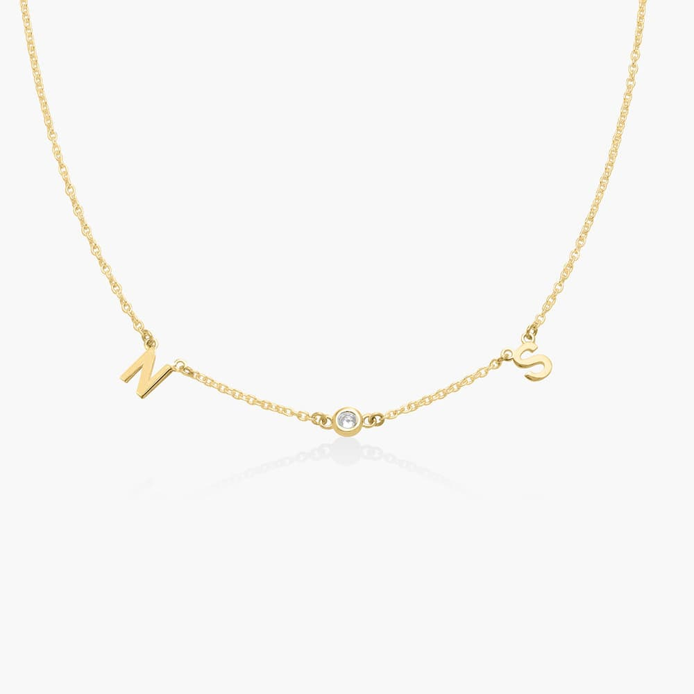Inez Initial Necklace with Diamond - Gold Vermeil