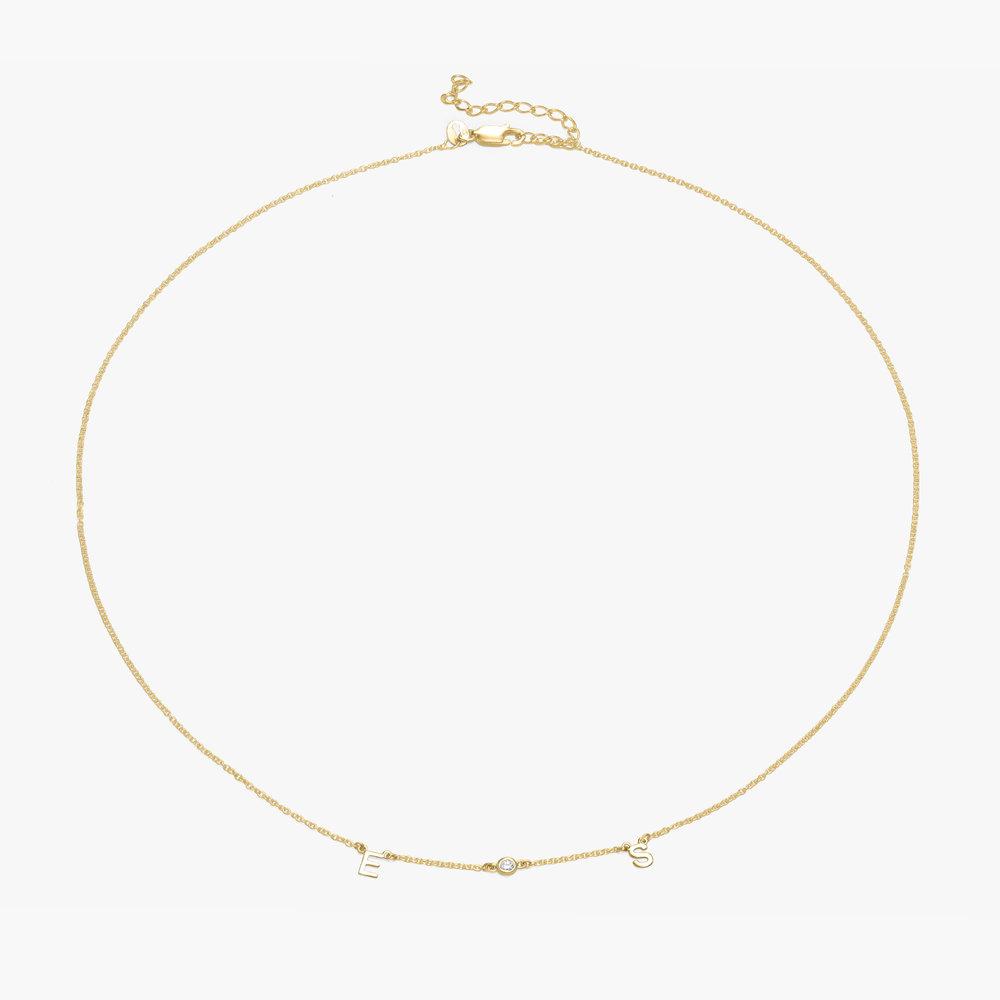 Inez Initial Necklace with Diamond - Gold Vermeil - 1