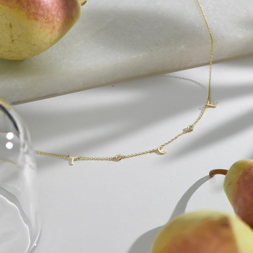 Inez Initial Necklace with Diamond - Gold Vermeil - 2