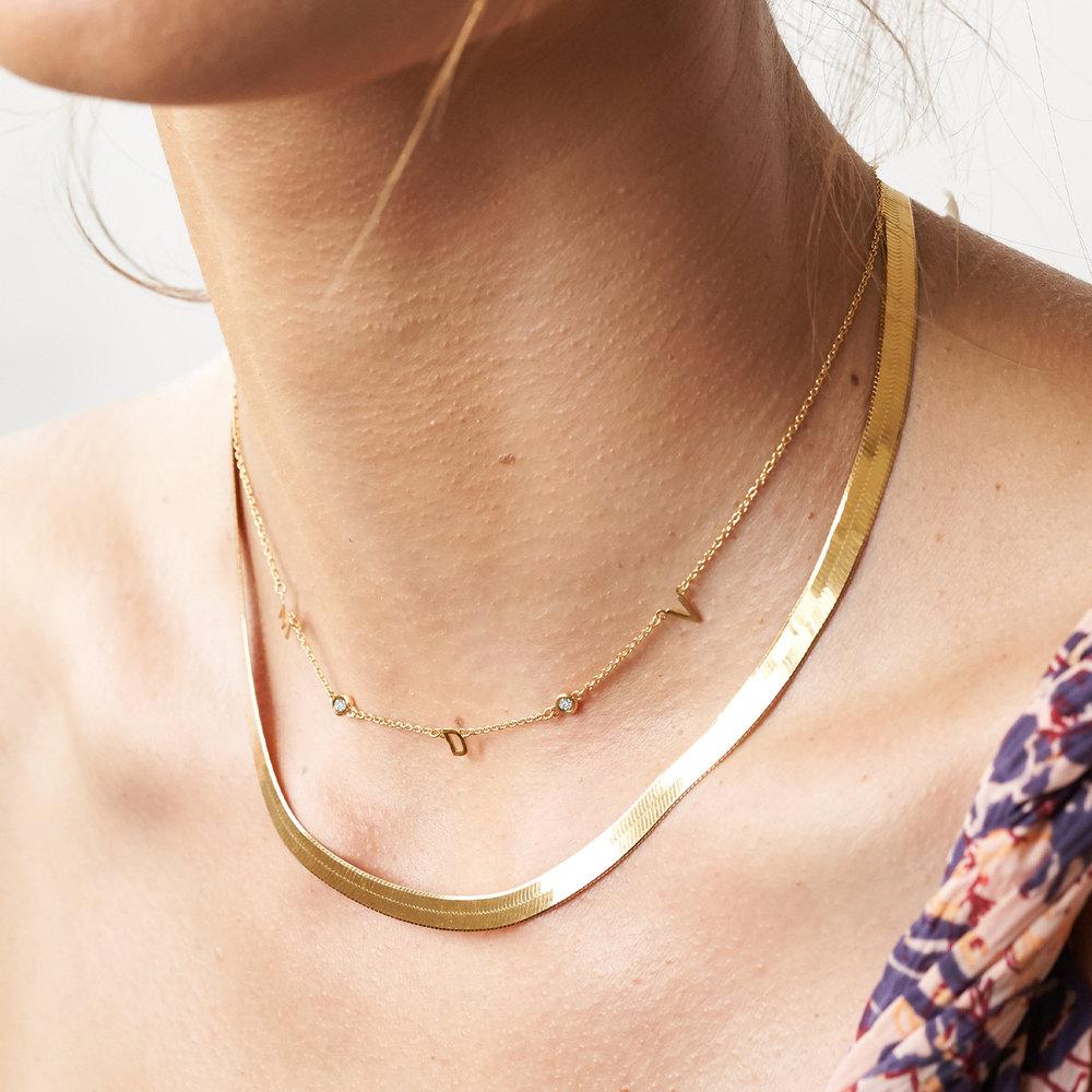 Inez Initial Necklace with Diamond - Gold Vermeil - 3