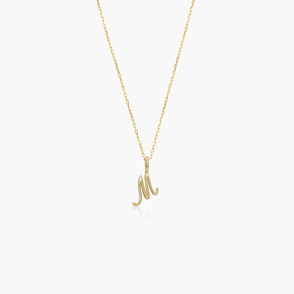 Nina Small Initial Musical Necklace - Yellow Gold