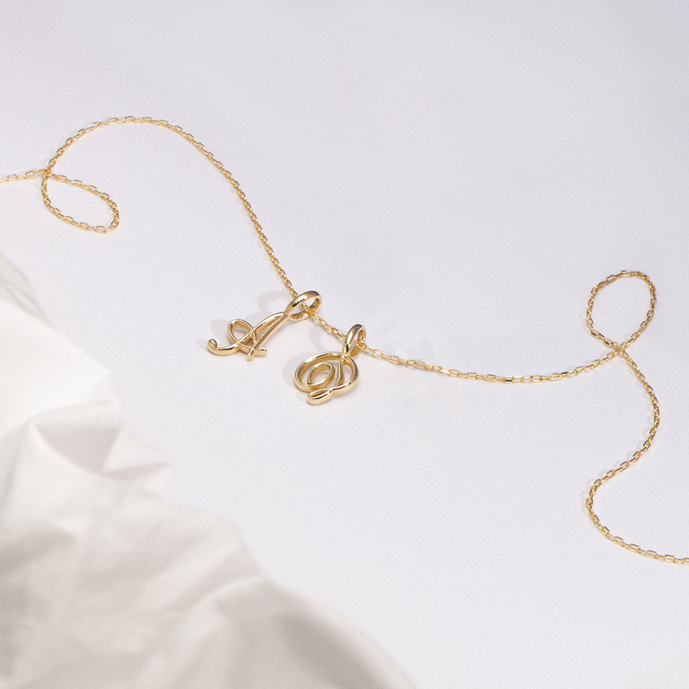 Nina Small Initial Musical Necklace - Yellow Gold - 1