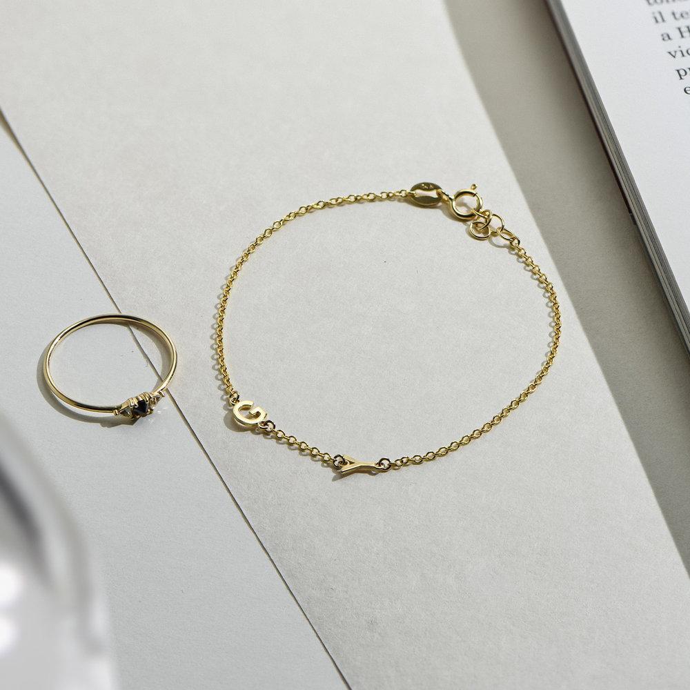 Inez Initial Bracelet - 14K Solid Gold - 2