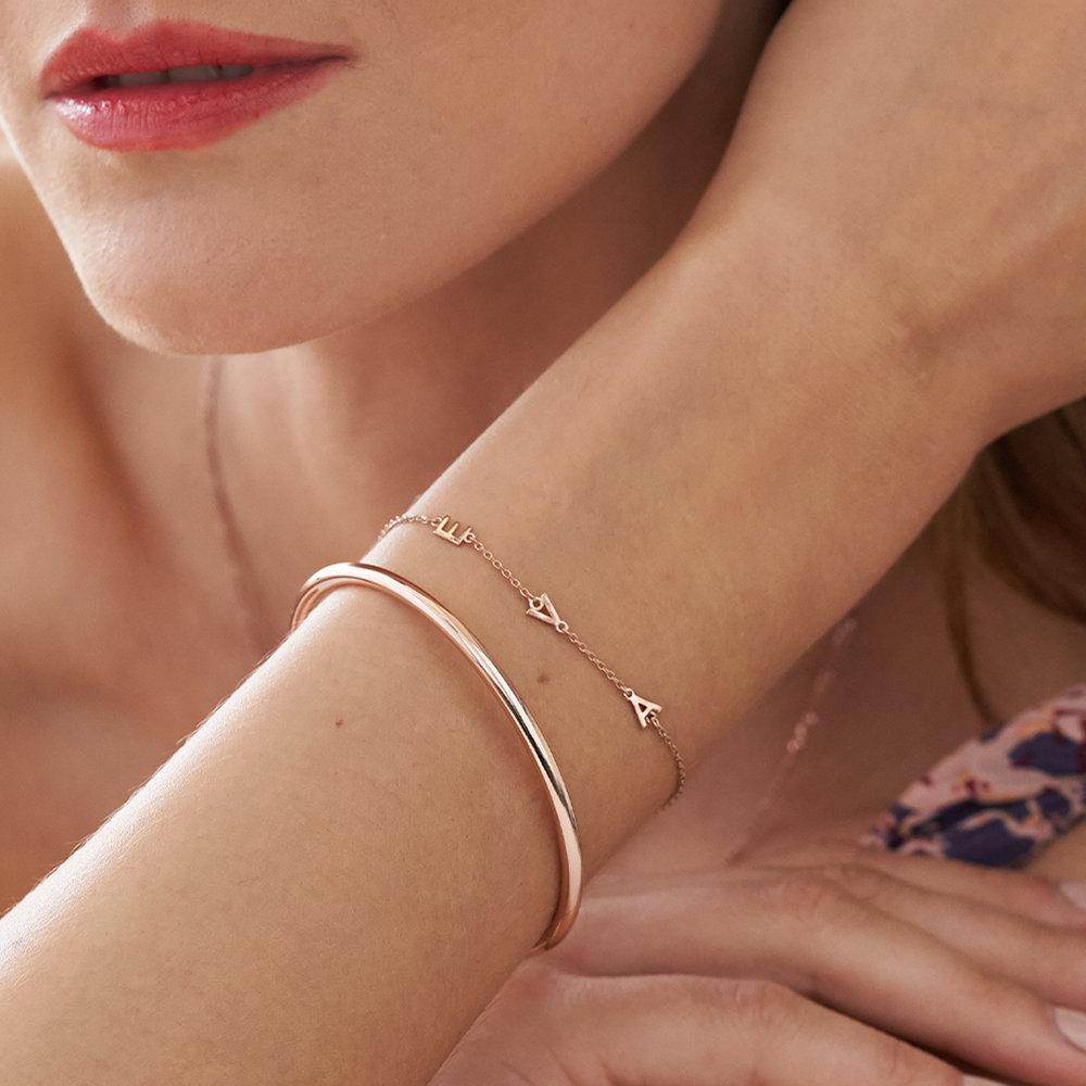 Inez Initial Bracelet - Rose Gold Plated - 4
