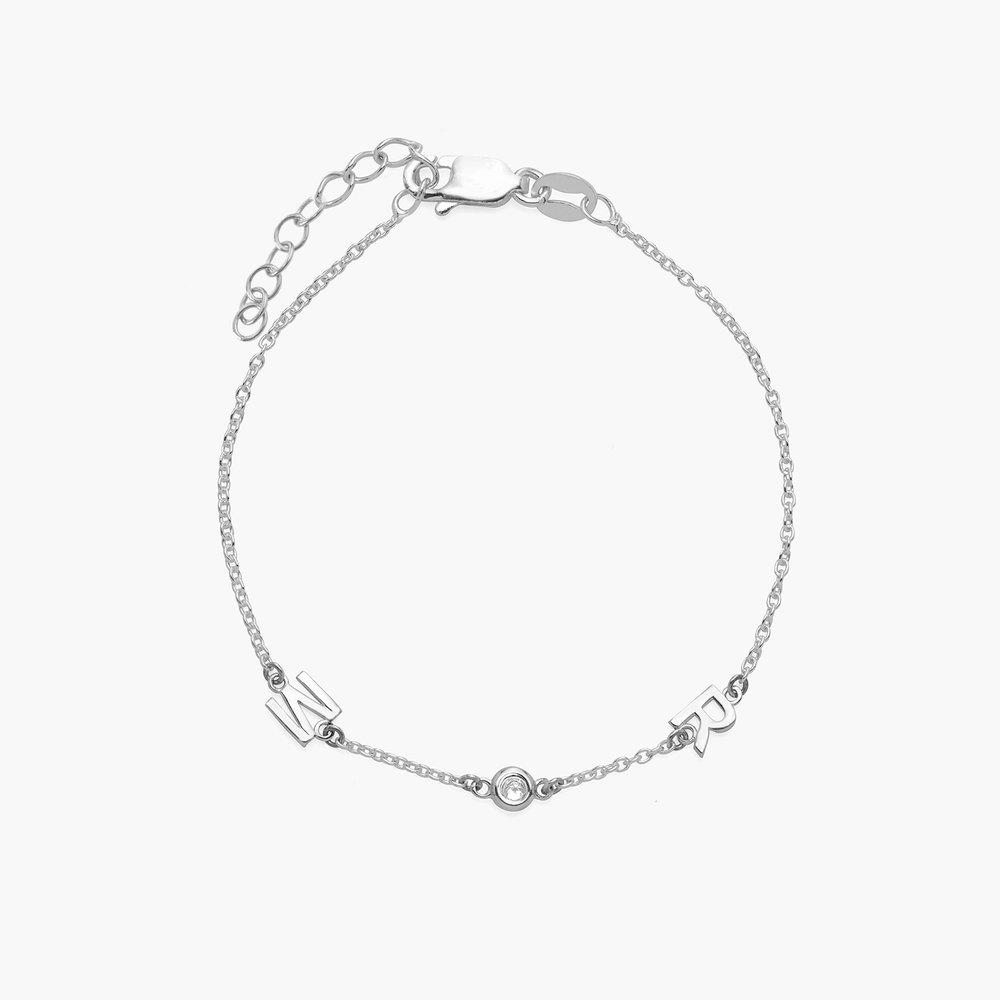 Inez Initial Bracelet with Diamond - Silver