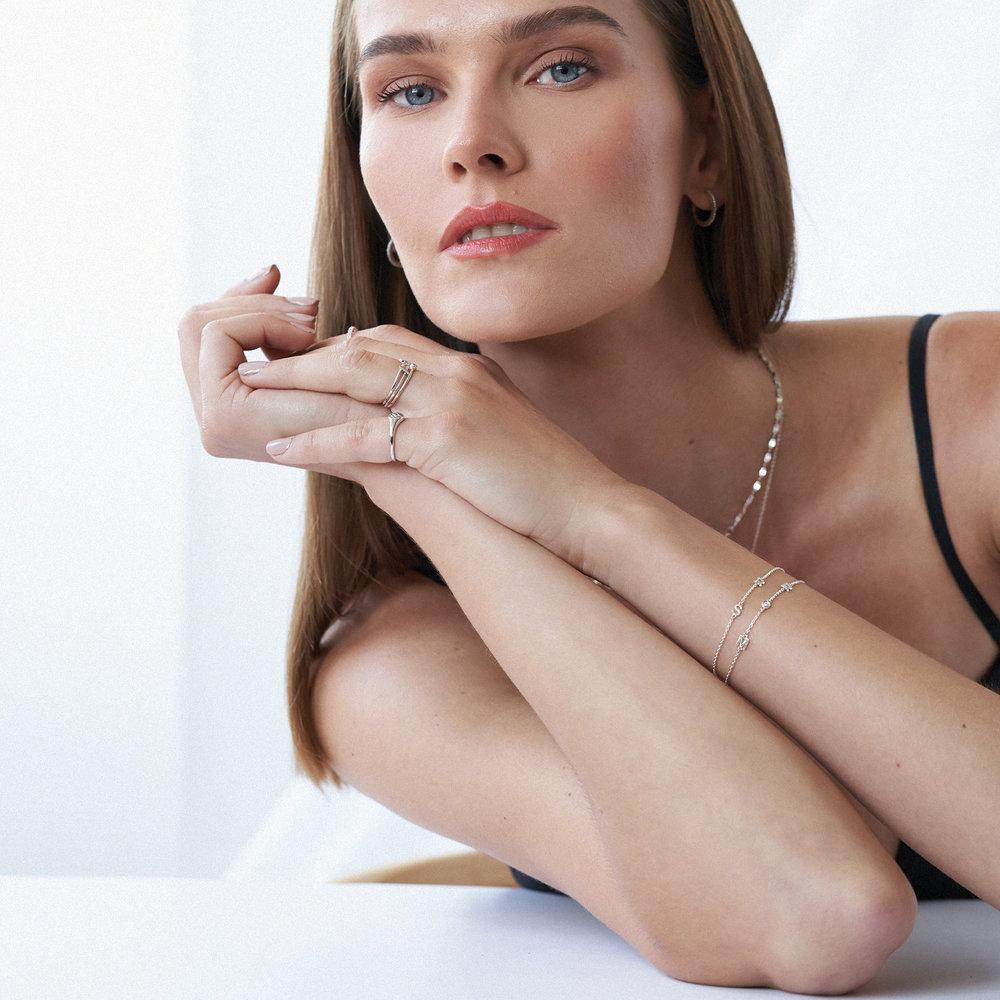 Inez Initial Bracelet with Diamond - Silver - 3