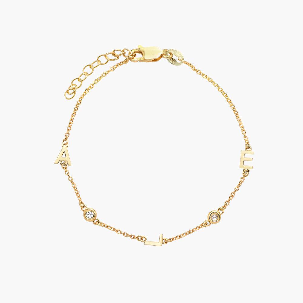 Inez Initial Bracelet with Diamond - Gold Plated