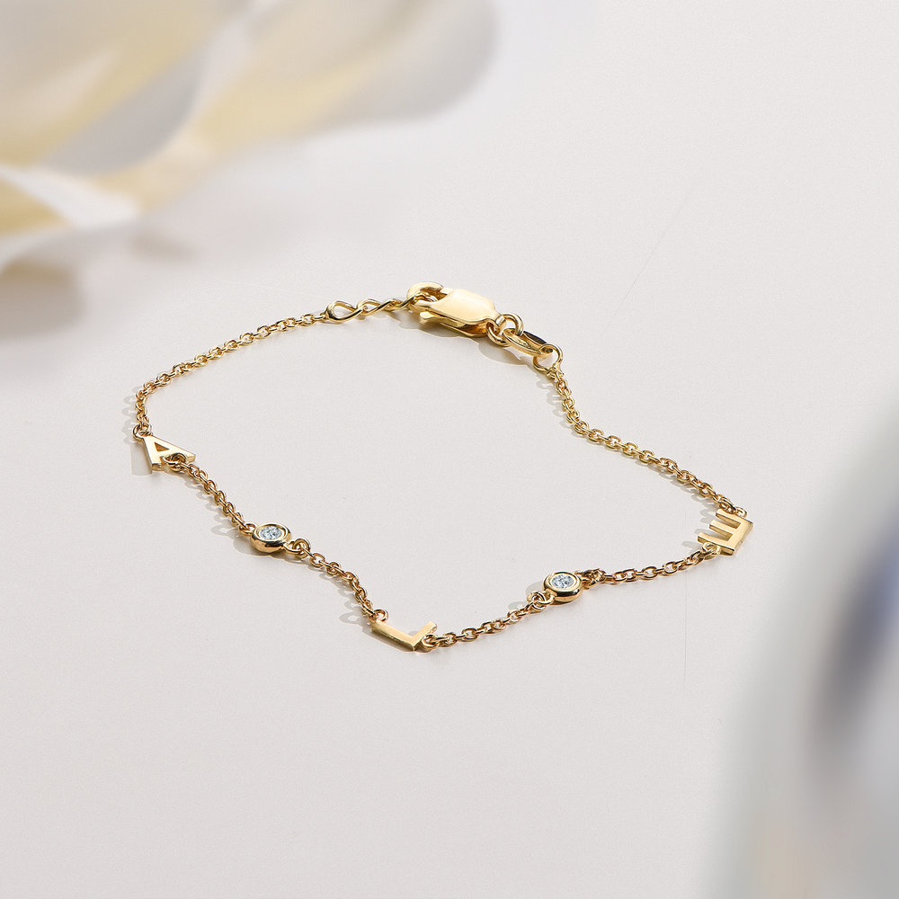 Inez Initial Bracelet with Diamond - Gold Plated - 2
