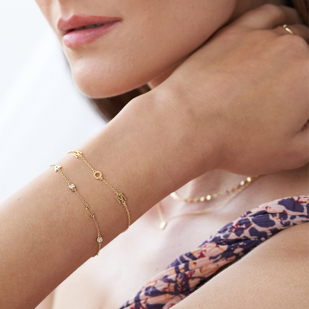 Inez Initial Bracelet with Diamond - Gold Plated - 4