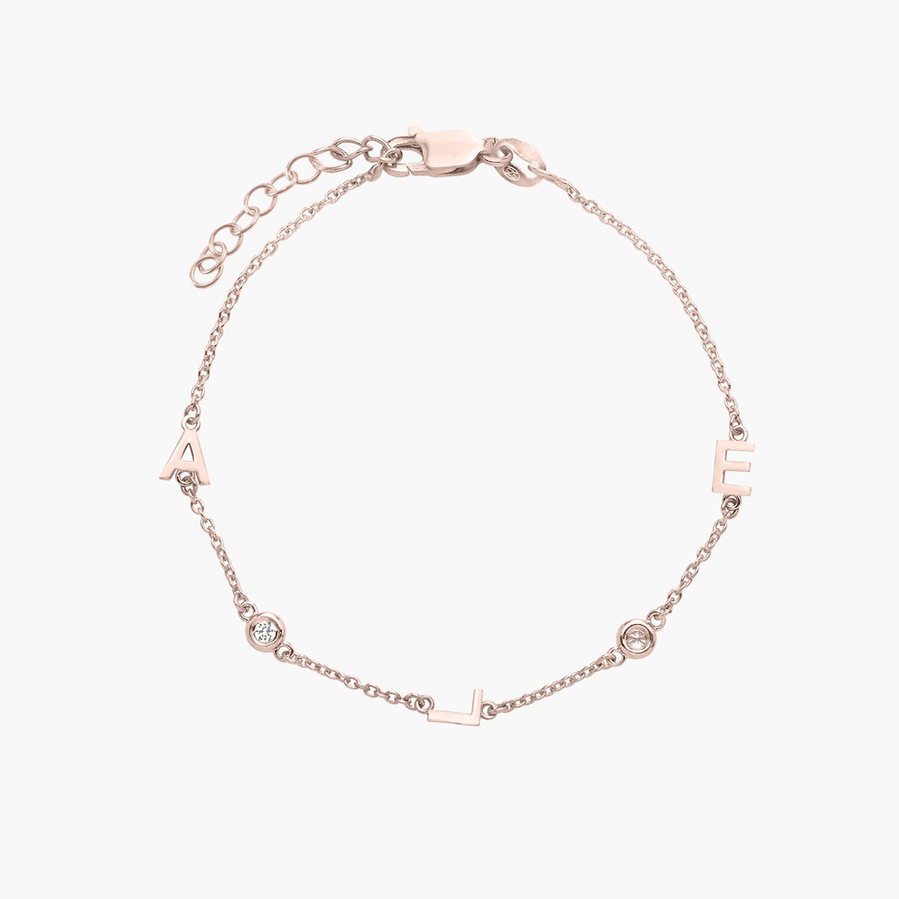 Inez Initial Bracelet with Diamond - Rose Gold Plated
