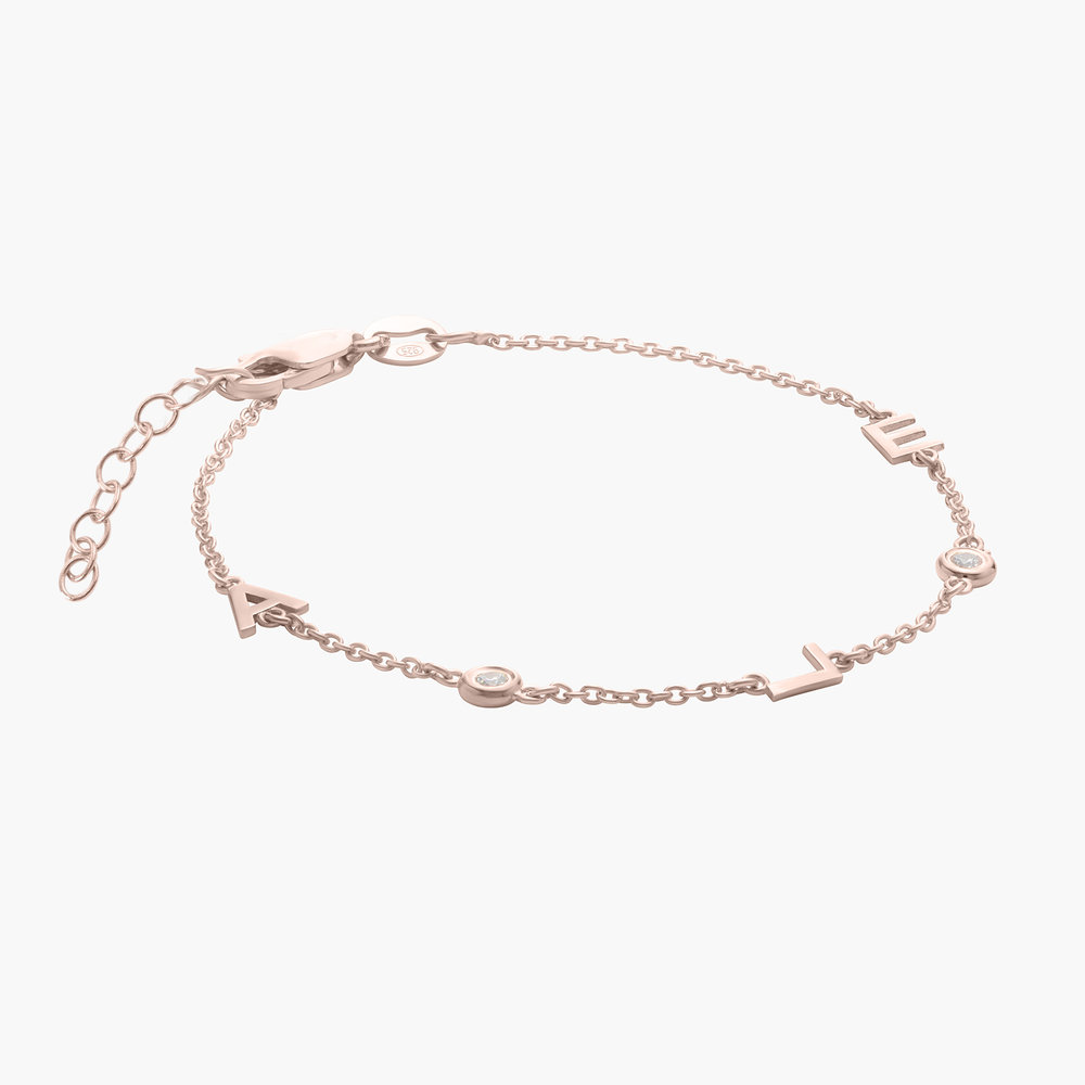 Inez Initial Bracelet with Diamond - Rose Gold Plated - 1