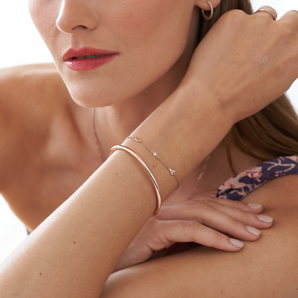Inez Initial Bracelet with Diamond - Rose Gold Plated - 3
