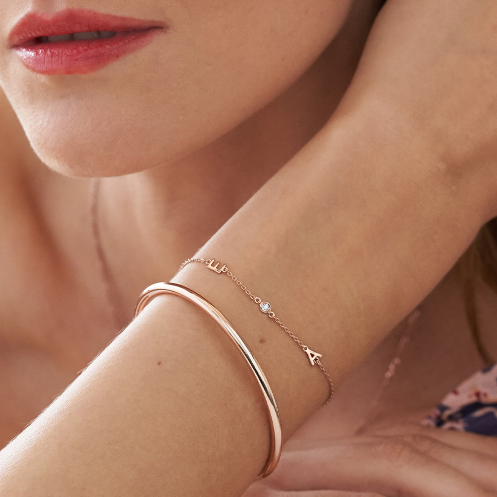 Inez Initial Bracelet with Diamond - Rose Gold Plated - 4