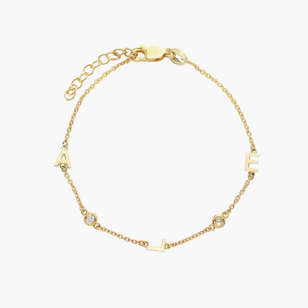 Inez Initial Bracelet with Diamond - Gold Vermeil