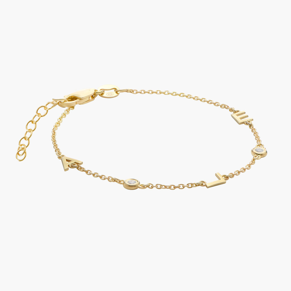 Inez Initial Bracelet with Diamond - Gold Vermeil - 1