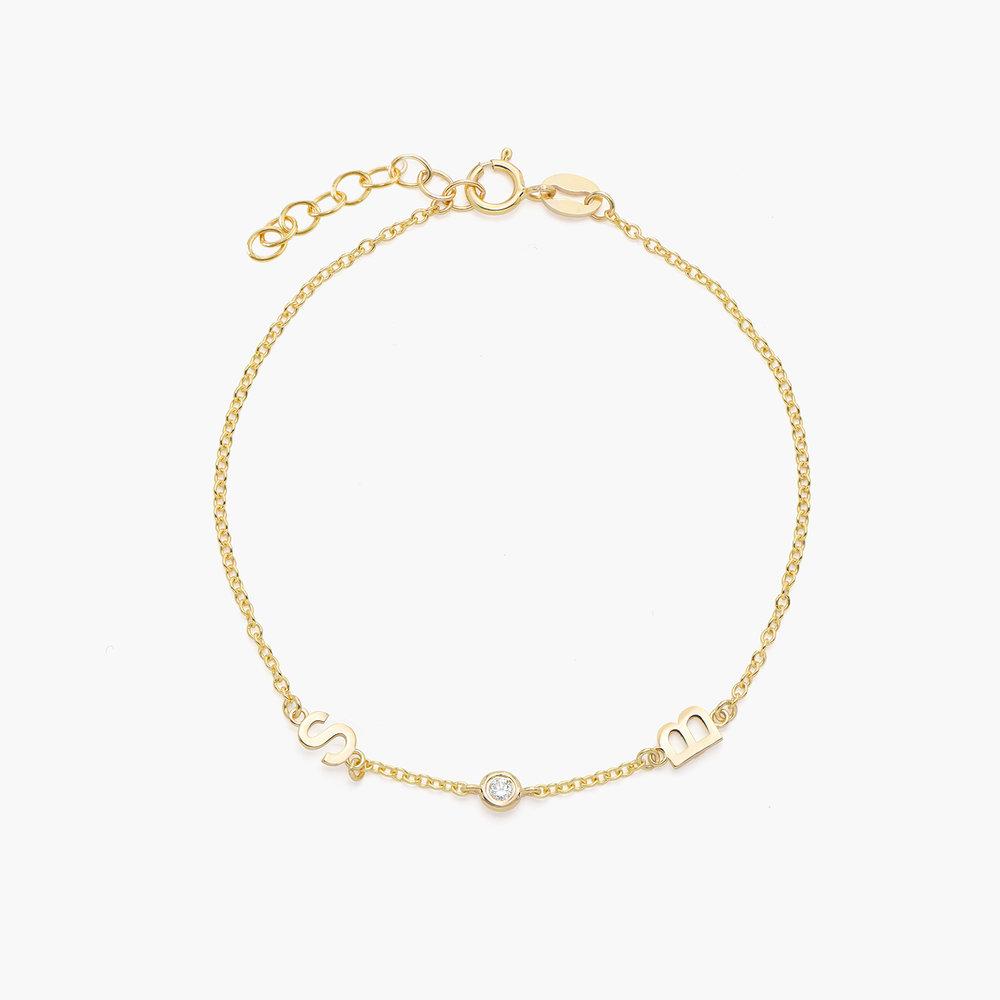 Inez Initial Bracelet with Diamond - 14K Solid Gold