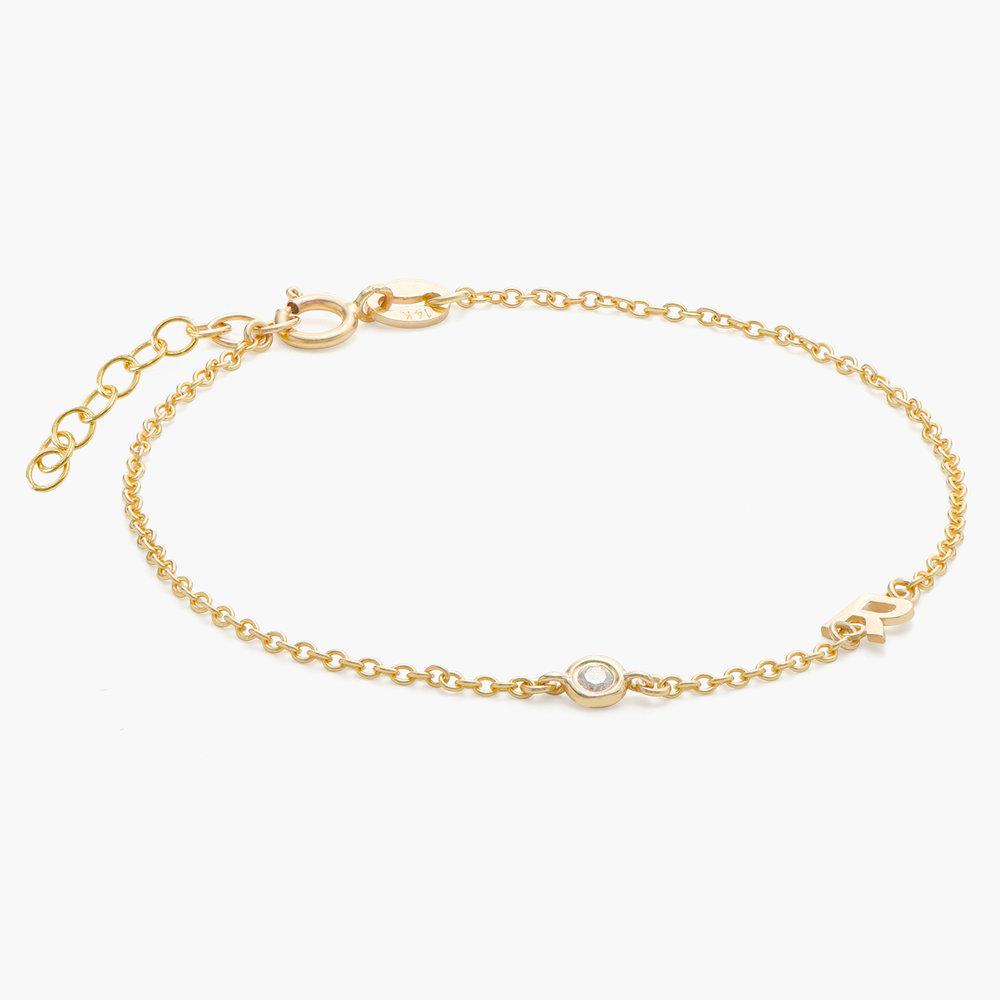 Inez Initial Bracelet with Diamond - 14K Solid Gold - 1