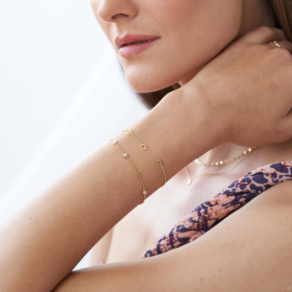 Inez Initial Bracelet with Diamond - 14K Solid Gold - 2