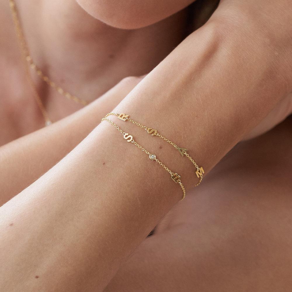 Inez Initial Bracelet with Diamond - 14K Solid Gold - 3