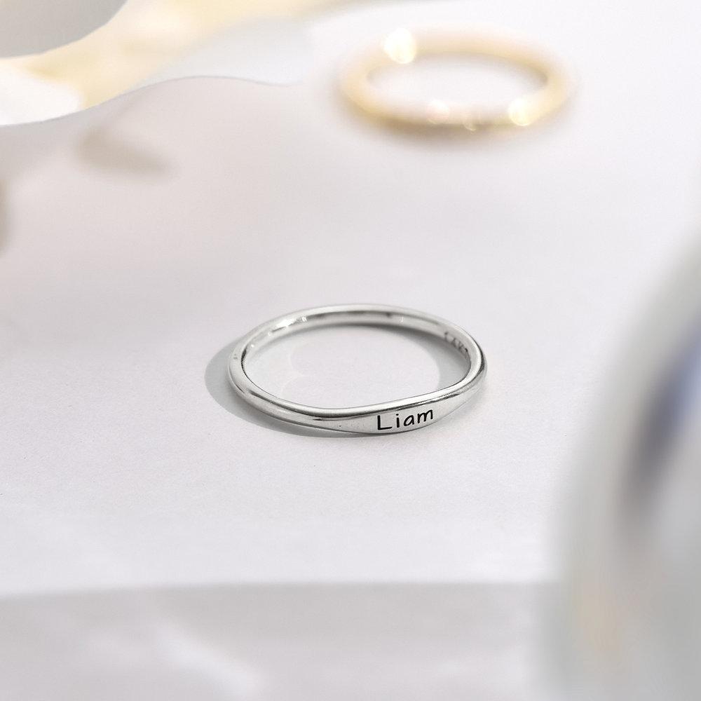 Gwen Thin Name Ring - Silver - 2