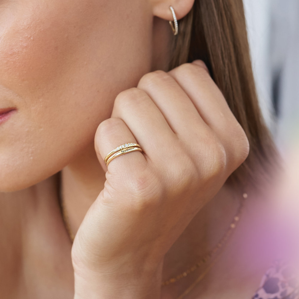 Gwen Thin Name Ring - Gold Plated - 4