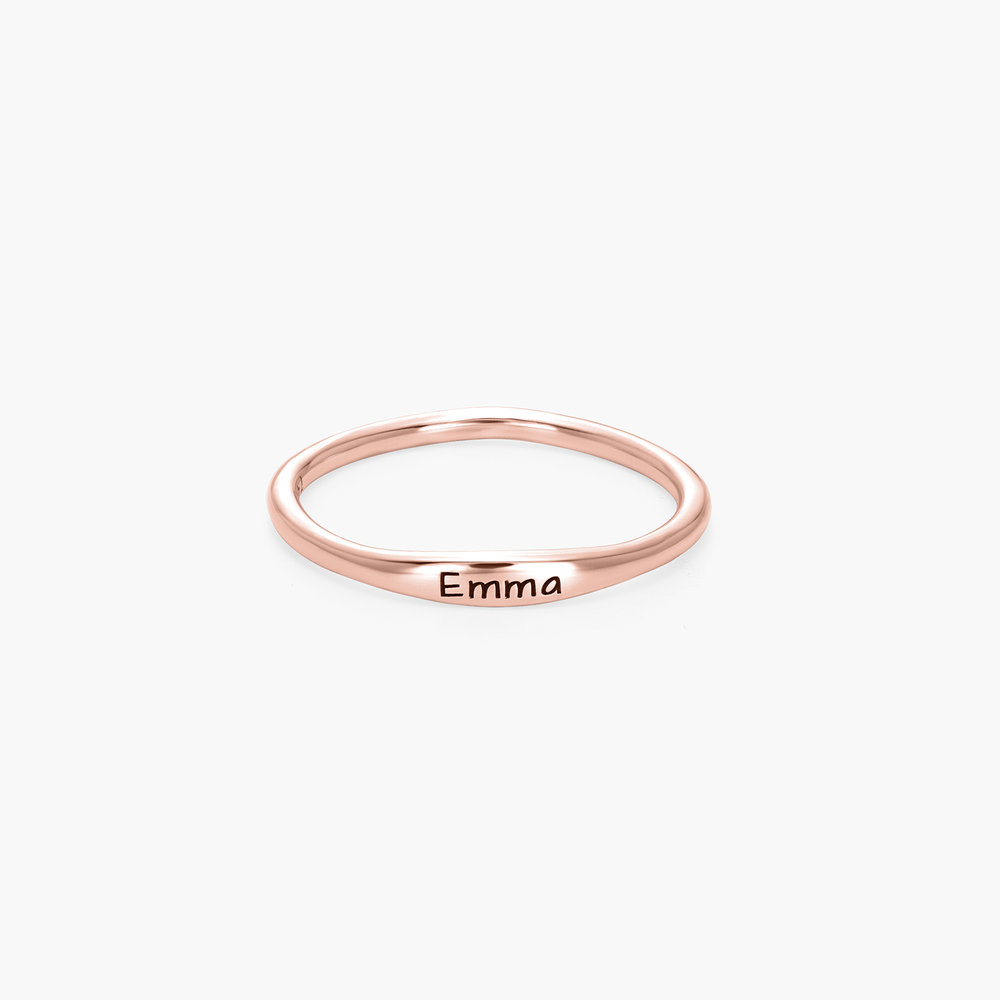 Gwen Thin Name Ring - Rose Gold Plated