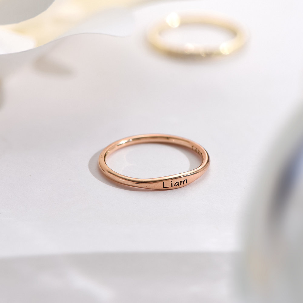 Gwen Thin Name Ring - Rose Gold Plated - 2