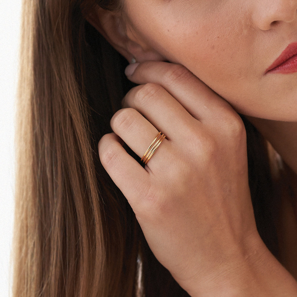 Smooth Hailey Stackable Ring - Gold Plated - 3