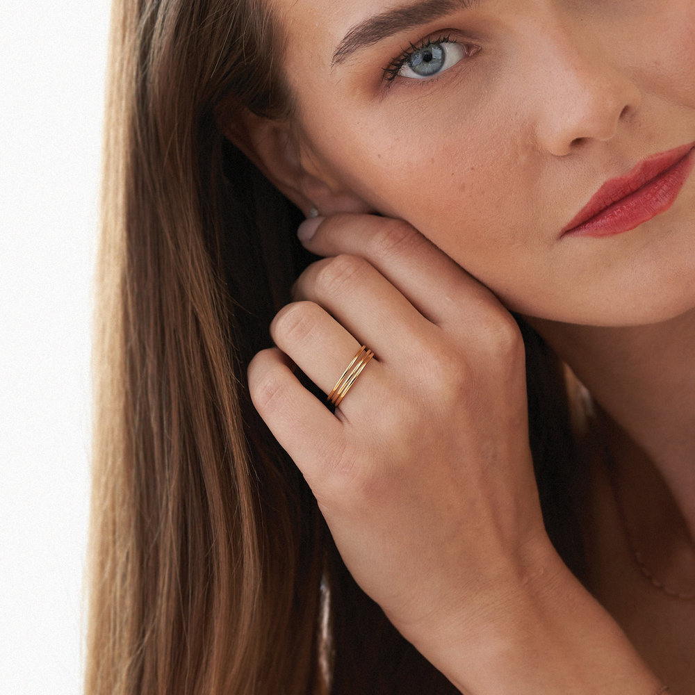 Smooth Hailey Stackable Ring - Gold Plated - 4