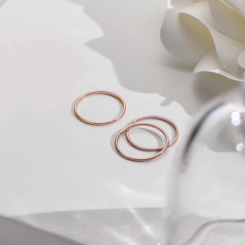 Smooth Hailey Stackable Ring - Rose Gold Plated - 2