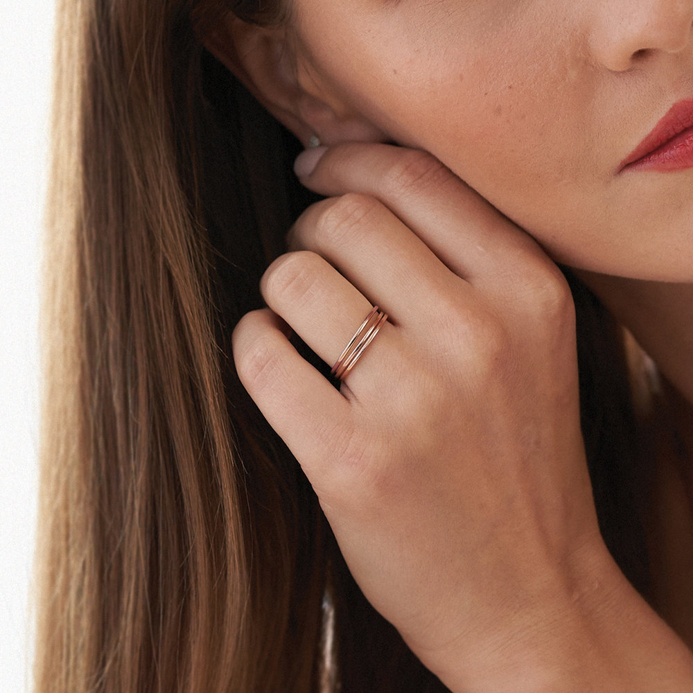 Smooth Hailey Stackable Ring - Rose Gold Plated - 3