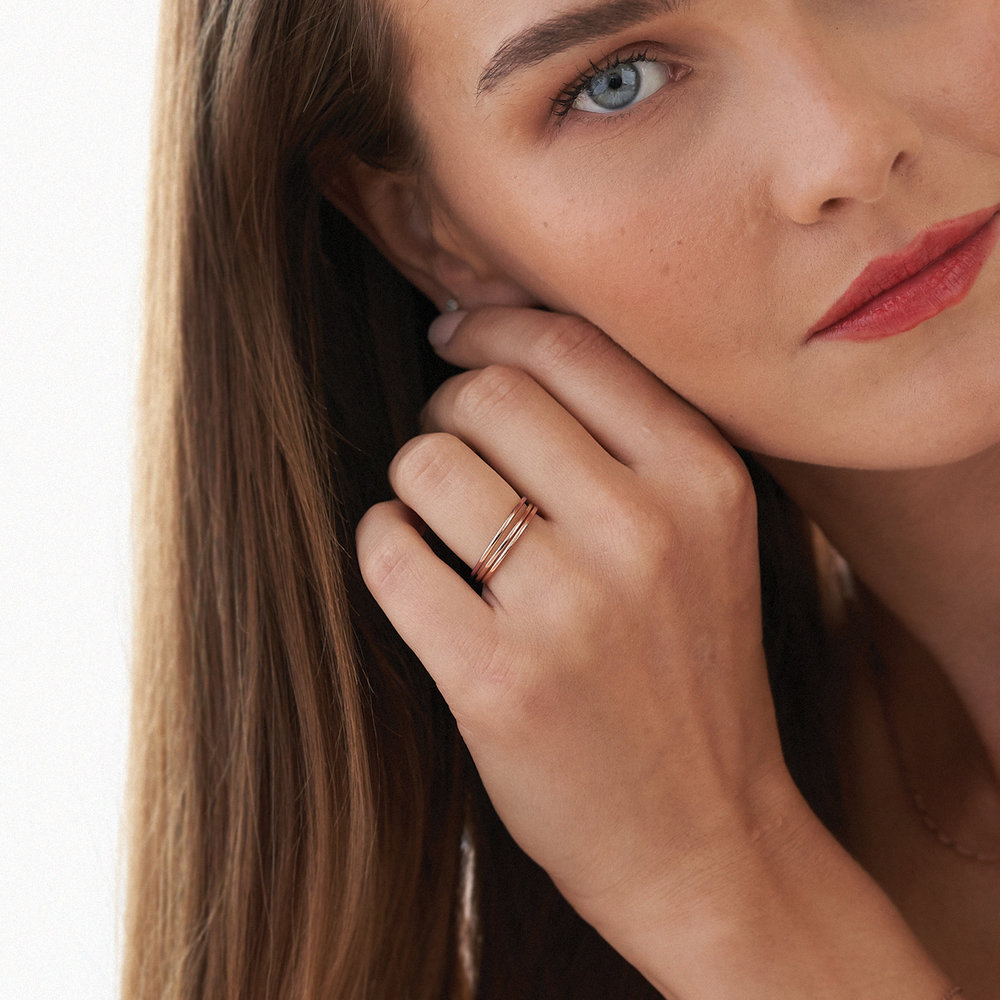 Smooth Hailey Stackable Ring - Rose Gold Plated - 4